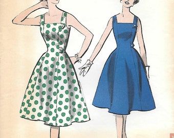 Advance 9054 - 1950s Classic Princess Shaped Sundress Vintage Sewing Pattern Bust 31 or 36 Square Neck