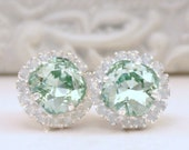 New Small Size- Chrysolite Swarovski Crystals Framed with White Opal Halo Crystals on Silver Post Earrings, Pale Green Halo Stud Earrings