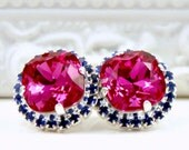 Vibrant Fuchsia Swarovskis Framed with Sapphire Blue Halo Crystals on Sterling Silver-Plated Post Earrings, Halo Stud Earrings