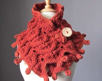 Hand knit scarf in Paprika / Dark orange with coconut button, warm and chunky winter scarf by VitalTemptation