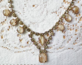 Elegant Sparkling Canary Yellow / Light Yellow / Citrine Glass and Creamy Cafe Au Lait / Pearly Cream Glass Choker / Necklace, Rhinestones