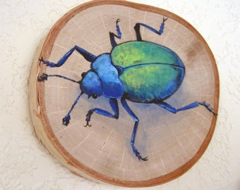 Original Painting - Blue and Green Beetle on Birch Wood Round