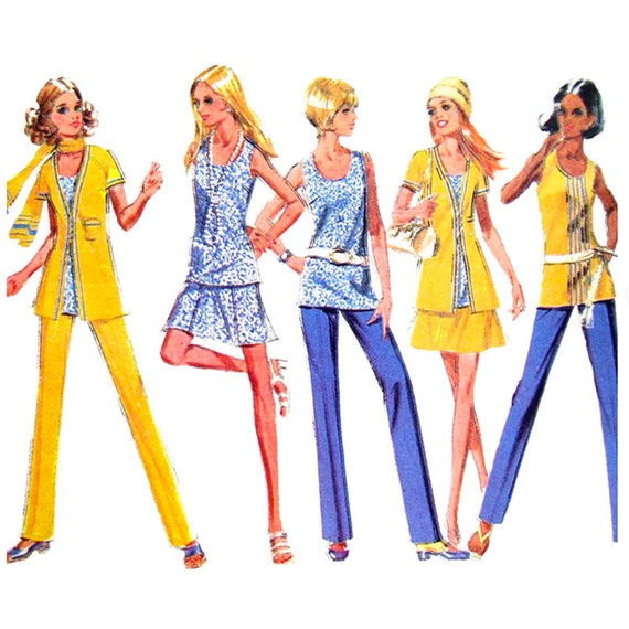 70s Lined Jacket, Blouse, Skirt, Pants Sewing Pattern McCalls 2362 Women Bust 38