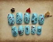 Alice In Wonderland Fake Nails, Press On Nail, Alice Nail Art, Gothic Fake Nails, Japanese 3D Nail, 3D Fake Nail, Nail, Cosplay, Dangle Nail