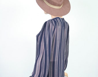 Vintage Sheer Draped Top / Boxy Blouse / Navy Blue + Brown Striped Top / Thin Secretary Shirt / Small