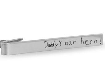 Custom handwriting tie bar - Personalized handwriting tie bar - Sterling silver tie bar - Tie bar memorial gift - Engraved silver tie bar