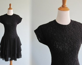 Vintage 1990s Dress - Cute Black Lace Cocktail Dress with Tiered Skirt - 90s Late Edition Dress S