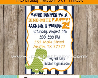 Dinosaur Birthday Party Invitation - Printable Birthday Invitation - DIY Birthday Invitation - Dinosaur Party - T-Rex Invitation