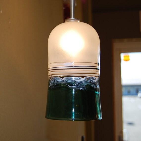 Blue Green Glass Pendant Lighting : Handblown blue green glass pendant light