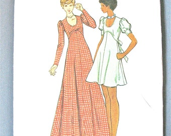 Uncut 70s Butterick  6950 Misses' DRESS Fit-and-flare, scoop neckline puff sleeves maxi cap sleeves Vintage Sewing Pattern  Bust 32.5 inches