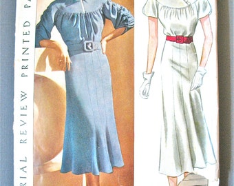 1930s Pictorial Review Printed Pattern 8531 Dress 30s Vintage Sewing Dress Pattern Bust 34 inches