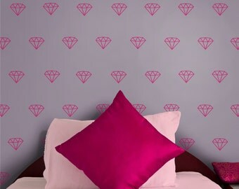 DIAMOND pattern vinyl wall decal set, jem stone wall sticker art, bling, FREE SHIPPING