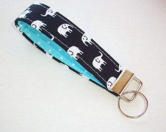 Key FOB / KeyChain / Wristlet  - Black with White Elephants with white dots on aqua - coworker gift mothers day under 10