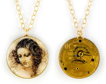 "Antique 1890 Elgin Gold Pocket Watch & Davinci's Drawing of ""Head of  Leda"" Steampunk Necklace"