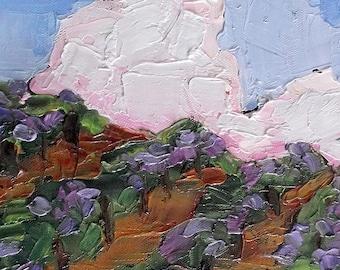 Vineyard Impressionist Painting Plein Air Landscape California Winery Art Lynne French o/c 8x10