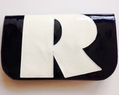 NEW! Navy Patent Leather Letter Clutch