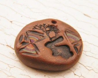 ONLY ONE Mustang Brown - Wild Jackalope Pebble Charm hand painted stamped rabbit rustic southwest tribal inlay focal charm (ready to ship)