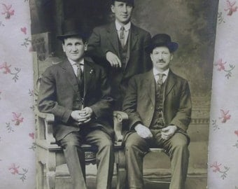 3 Handsome Men-Hats-Suits-Cigars-Ties-Vintage Real Photo Postcard-Canton,OH