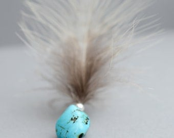 Silver and Turquoise necklace with feather drop