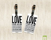 Personalized Luggage Tags Love Is 1 Corinthians 13:4-8  - Full Metal Tags - Printed Address, text or quote