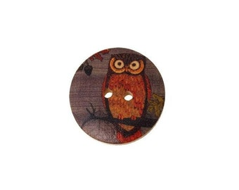 Wooden Owl Buttons , 30MM   2-hole  Painted  Owl Wooden Buttons ,   6Pcs , Owl Buttons  ,  Wood Buttons
