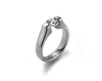 Modern Engagement Ring with White Sapphire Tension Set Steel