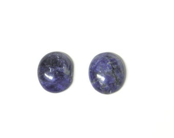 Dumortierite cabochons, oval cabochons, 2 small cabs, natural stone, stone cabochon,, one pair, earring ring jewelry, dark blue, handcut USA