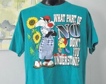Vintage Tshirt 90s 1995 Tweety Sylvester Warner Bros Looney Tunes Pop Comicstrip Cartoon Teal Green Tee Funny Gift XL