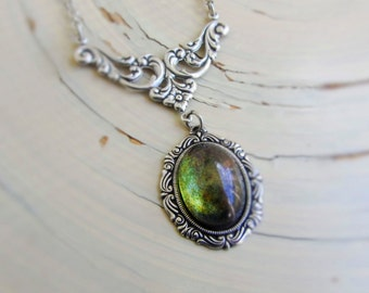 Green Victorian Necklace -  Iridescent Glass Pendant -- Victorian Jewelry