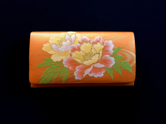 Vintage Japanese Kimono Clutch-  Orange Clutch - Vintage Clutch - Japanese Clutch - Bridal Clutch - Bridal Purse - Vintage Bag - Flower bag