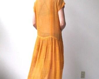 Vintage 1920s cotton voile dress / antique sherbet tea gown