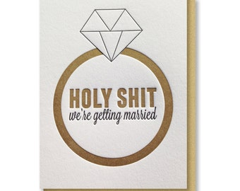 READY TO SHIP! Gold Funny Groom | Bride Day of Wedding We're Getting Married Diamond Ring Letterpress Card | kiss and punch