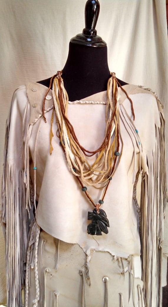 Dios del Maiz - Buckskin Cowl Necklace with Guatemalan Jade Carved Crystal