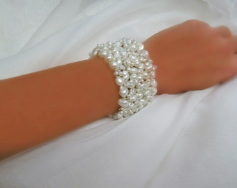 Wire Wrapped Pearl Cuff with & Swarovski Crystals - Hand Wired Bridal Bracelet Sharona Nissan (4019b)