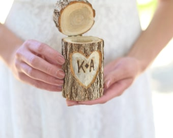 Personalized Rustic Wood Ring Bearer Pillow Box Alternative Tree Stump QUICK shipping available
