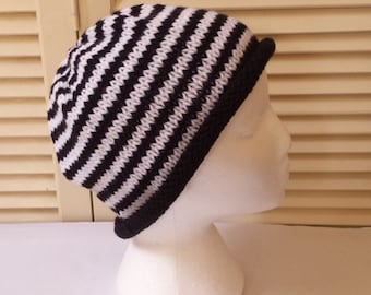 Black And White Striped Womens Hand Knitted Hat/ Beanie/ Cap/ Knit Skullcap/ Handmade Accessories