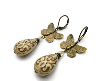 Antique Ivory and Brown Butterfly Earrings. Golden Shadow Swarovski. Mothers Day Gift