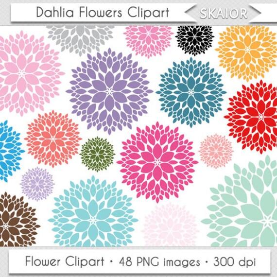 Dahlia Flowers Clipart Clip Art Wedding Rainbow Floral Bouquet Flower Silhouette Scrapbooking Invitations