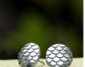 Dragon Scale Stud Earrings in Metallic Silver on Titanium or Stainless Steel Posts