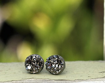 Gunmetal Gray Faux Druzy Earrings - Made with Stainless Steel, Titanium, or Sterling Silver Posts, 8mm Faux Durzy, Glitter Stud Earrings
