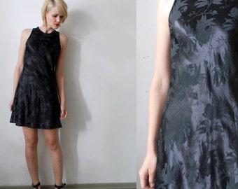 SALE...All That Jazz dress. 90s gothic mini dress. black satin dress - xs, small