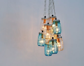 Mason Jar Chandelier, Clustered Hanging Chandelier Featuring 10 Blue & Clear Mason Jars, Upcycled Rustic Lighting Fixture, BootsNGus Lights