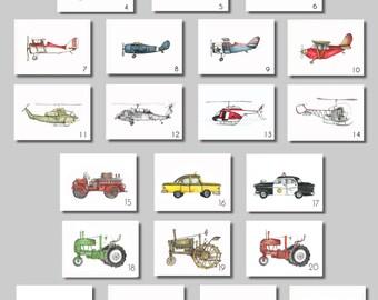 """Vintage Prints - 8x10"""" Watercolor Prints (SET OF 8)  -  Aviation, Trucks, Tractors"""