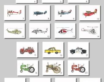 """Vintage Prints - 8x10"""" Watercolor Prints (SET OF 3) - Aviation, Trucks, Tractors"""