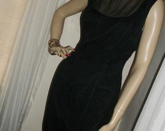 Vintage 1920s Flapper Style Goth Silk Chiffon Wiggle Dress Elinor Gay Orig Marabou Feather Hem Size M