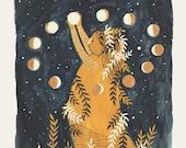She Hangs The Moon- print of an original illustration (8''x10'')