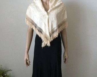 Moonlight Ivory Silk Embroidered Piano Shawl...Small Flapper Wedding Shawl...Bridal Wrap...Bohemian Shawl #3