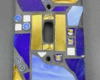 Light Switch Cover -- Blue and Gold Mirror Stained Glass Mosaic