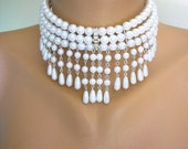 WHITE PEARL CHOKER, Bridal Necklace, Great Gatsby, Bridal Set, Pearl Necklace, Pearl Collar, Backdrop Necklace, Art Deco, Bridal Jewelry