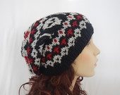 Knitted slouchy hat with skulls/ skulls pattern/ fair isle hat /knit hat